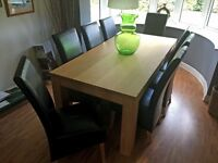 Stylish Barker & Stonehouse Solid Oak Dining Table & 8 Leather HIgh Back Dining Chairs