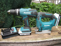 Professional Makita 18v Cordless Drill, Jigsaw, Charger + 2 Batteries Nearly New! Cost £240!