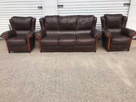 Rossini Italian leather sofa set CAN DELIVER LOCAL 😁🚛👍🏻