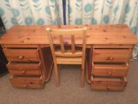 Wooden Desk and Chair For Sale