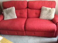 3 seater electric recliner +2 seater static sofas red