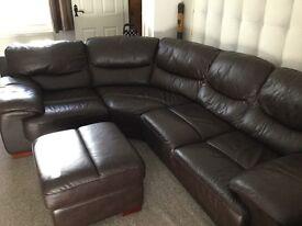 Leather Corner Sofa & Footstall