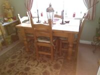 Solid pine dining table 4 chairs pick up only cash on collection phone 07771923394 £180 ovno