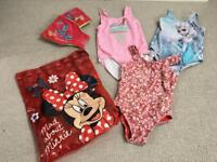 Girl 5yr swimming costume bag armbands. Frozen. Minnie Mouse. Gap. M&S
