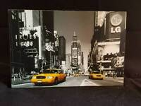 Mini art mount block- NY b&w/ Yellow taxi cab