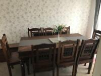 Dark Wooden dining room table- 8 chairs