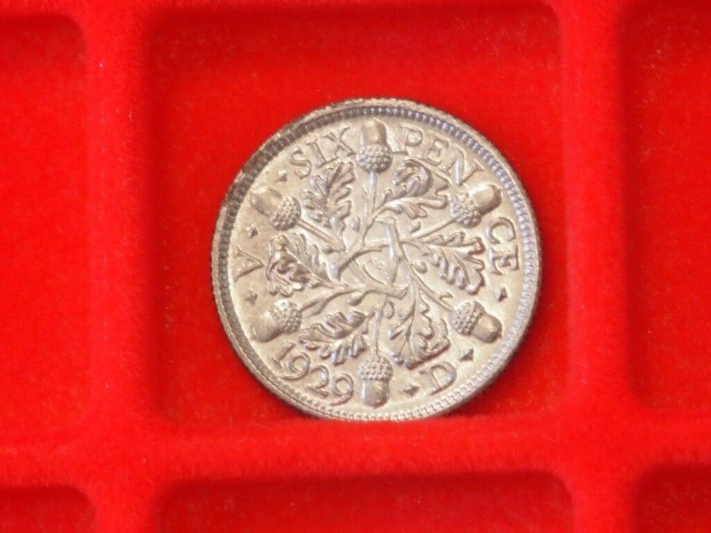 Silver 1929 King George V six Pence Coin Superb condition !!