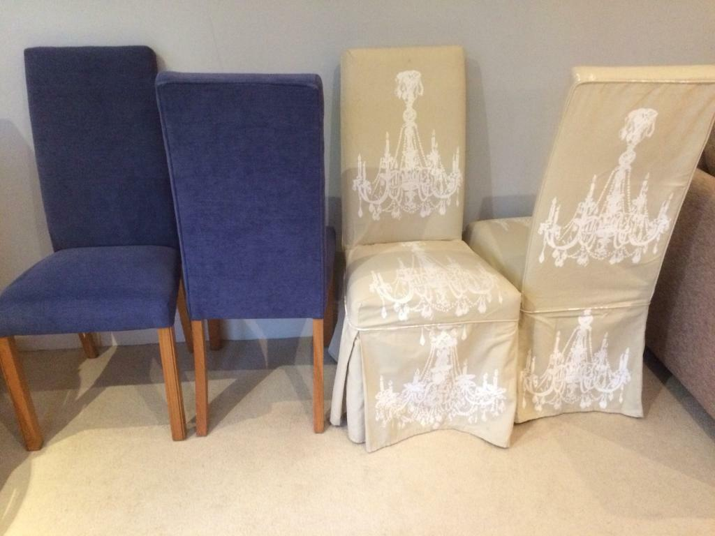 Groovy 4 Dining Chairs Ms Blue With Neutral Covers In Aylesbury Buckinghamshire Gumtree Creativecarmelina Interior Chair Design Creativecarmelinacom