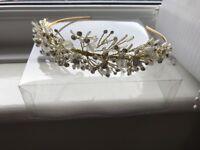 Gold crystal tiara