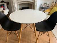 Eames style dining table and 2 chairs- I can deliver
