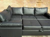 Lovely BRAND NEW black leather corner sofa bed with storage .can deliver