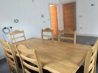Beech dining table and 6 chairs