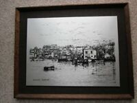 Vintage Framed Picture of Falmouth Harbour