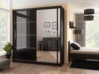 Black Gloss Wardrobe ***2 DOOR SLIDING #WARDROBE WITH FULL MIRROR -EXPRESS DELIVERY