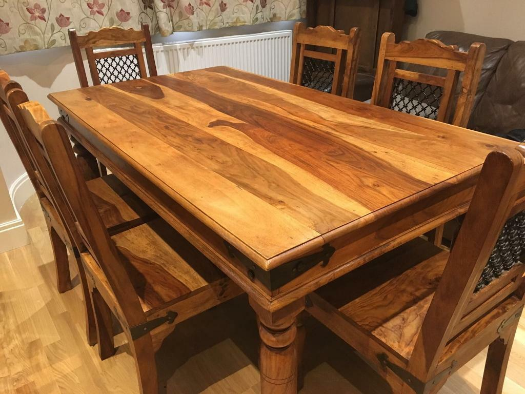 Jali Sheesham Dining Table And 6 Chairs In Feltham