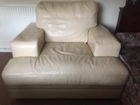Cream single leather armchair