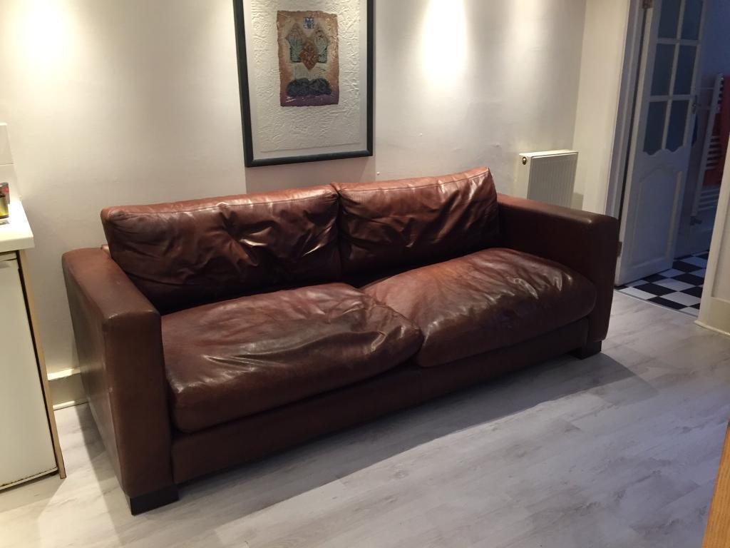 Large Brown Leather Sofa Down Filled One Deko