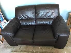 DFS Brown Leather Two Seater Sofa