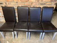 Brown Leather Effect Dining Chairs ( FOC )