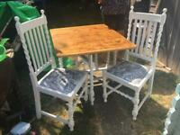 1920s oak painted table and FOUR chairs