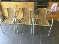 Wicker and aluminium cafe chairs x3