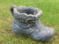 Vintage Cast Stone Old Black Boot Garden Planter 20cm Tall