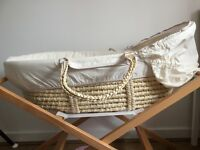 John Lewis Moses basket with stand and mattress