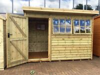 GARDEN SHED 50% DISCOUNT ex display - 10'x6' ft 'HOLT' - pent roof - rustic cladding - FREE DELIVERY