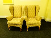 Antique looking Pair of Golden Wingback Arm Chairs 70 POUNDS ONLY Must go by Sunday!!