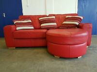 RED LEATHER CORNER SOFA / SETTEE / SUITE WITH CUSHIONS DELIVERY AVAILABLE