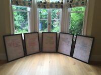 Wedding decoration for book lovers - set of five gorgeous framed prints
