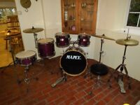 Mapex M Series Violet Wood Grain Lacquer 5 Piece Drum Kit (22 in base) + Stands + Stool + Cymbals
