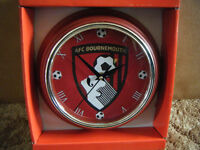 """AFC BOURNEMOUTH"" Football Quartz clock. New condition and supplied with battery."