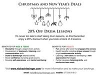 Drum Lessons: Xmas Special Offer 20% Discount