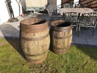 Wooden Barrel x 2 Large Oak Whiskey Barrels