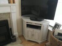 Tv cabinet stand distressed white
