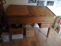 Antique pine clerk/drawing desk for sale. Loved but too big for new house. £150 (ONO).