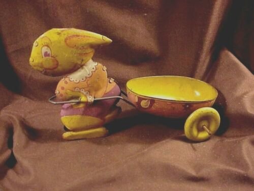 EASTER BUNNY PULLING CART,  VINTAGE LITHOGRAPHED TIN TOY, c