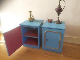 Pair of turquoise solid wood antique bedside tables / cabinets