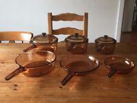 Saucepans Pans Casserole Pots Amber Corning Vision Pyrex Glass 9 Pc Set Retro Vintage