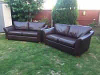 Marks & Spencer Abbey dark brown leather 3&2 seater sofas £3500 new can deliver