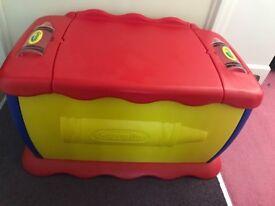 Crayola toy box, Laura Ashley seat pads & headboard