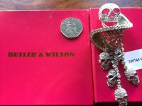 Butler and Wilson Jewelled Skull Broach New and Boxed