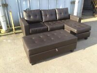 Dark Brown Leather Corner Sofa with Ottoman & Footstool / Sofa Bed - £299 Inc Free Local Delivery