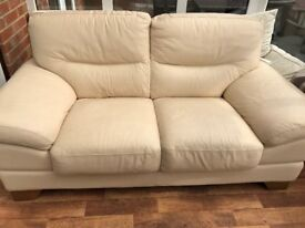Cream Leather 2 Seater Sofa and Poufee from DFS