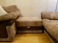 gorgouse two dfs sofas both 3 seaters with storage footstool vgc