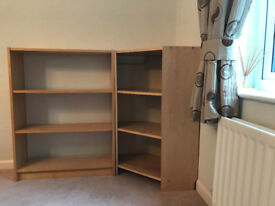 Ikea 'Billy' bookcase and side corner shelf unit