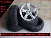 """2159 Genuine 17"""" BMW 393 3 Series F30 4 Series F32 Alloy Wheels And Winter Tyres"""