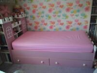 Pink and white Castle full size single bed ideal for storing toys and books- quick sale price £90ono