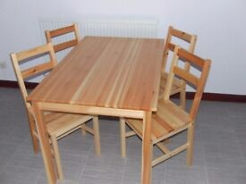 Pine Kitchen Table and 4 Chairs With or Without Ikea Seat Cushions.